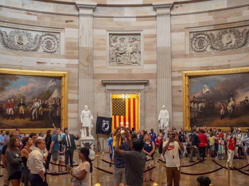 Washington DC, District of Columbia [United States Capitol interior, federal district, tourist visitor center, rotunda with fresco stock photo
