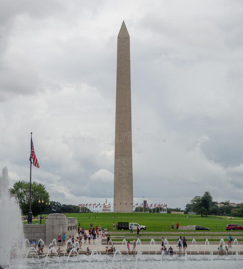 Washington DC, District of Columbia [United States US, obelisk on the National Mall in the capital, Reflecting pool, stock photo