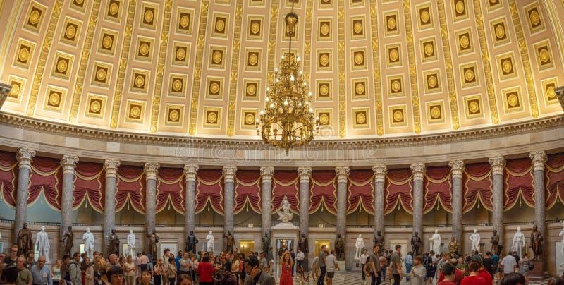 Washington DC, District of Columbia [United States Capitol interior, federal district, tourist visitor center, rotunda with fresco royalty free stock photo