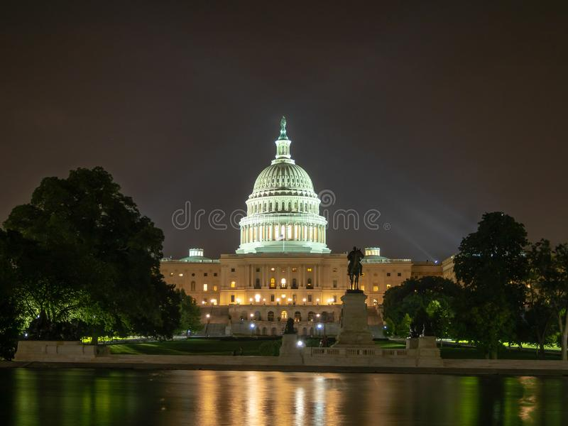 Washington DC, District of Columbia [United States US Capitol Building, night view with lights over reflecting pond,. Washington DC, District of Columbia, [ stock image