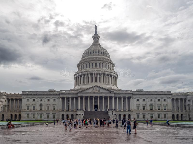 Washington DC, District of Columbia [United States US Capitol Building, shady cloudy weather before raining, faling dusk stock photos