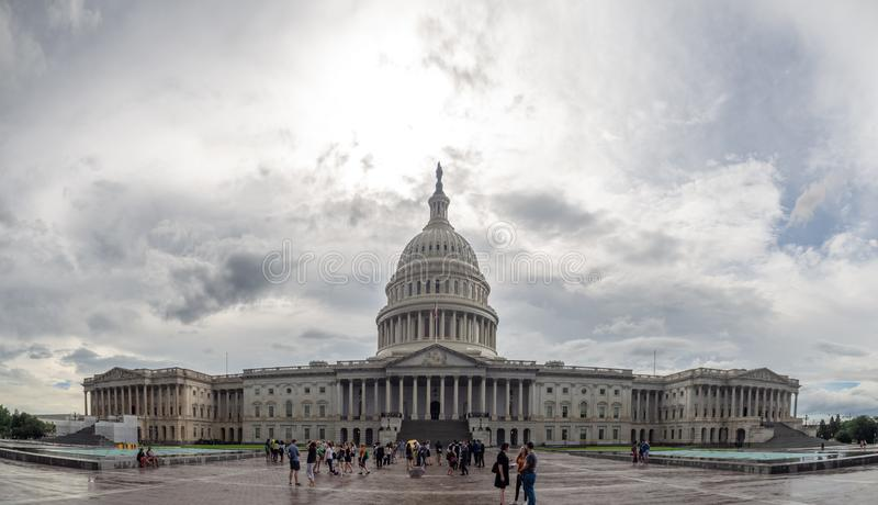 Washington DC, District of Columbia [United States US Capitol Building, shady cloudy weather before raining, faling dusk royalty free stock image