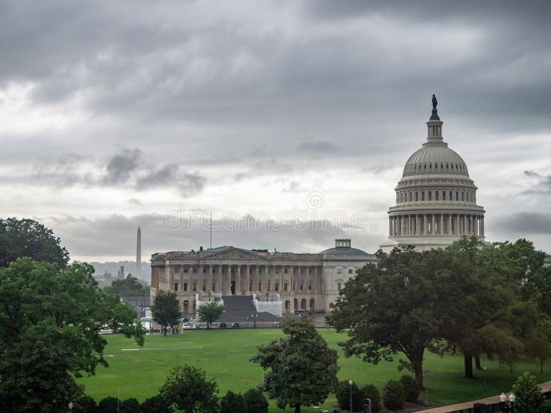 Washington DC, District of Columbia [United States US Capitol Building, shady cloudy weather before raining, faling dusk royalty free stock images