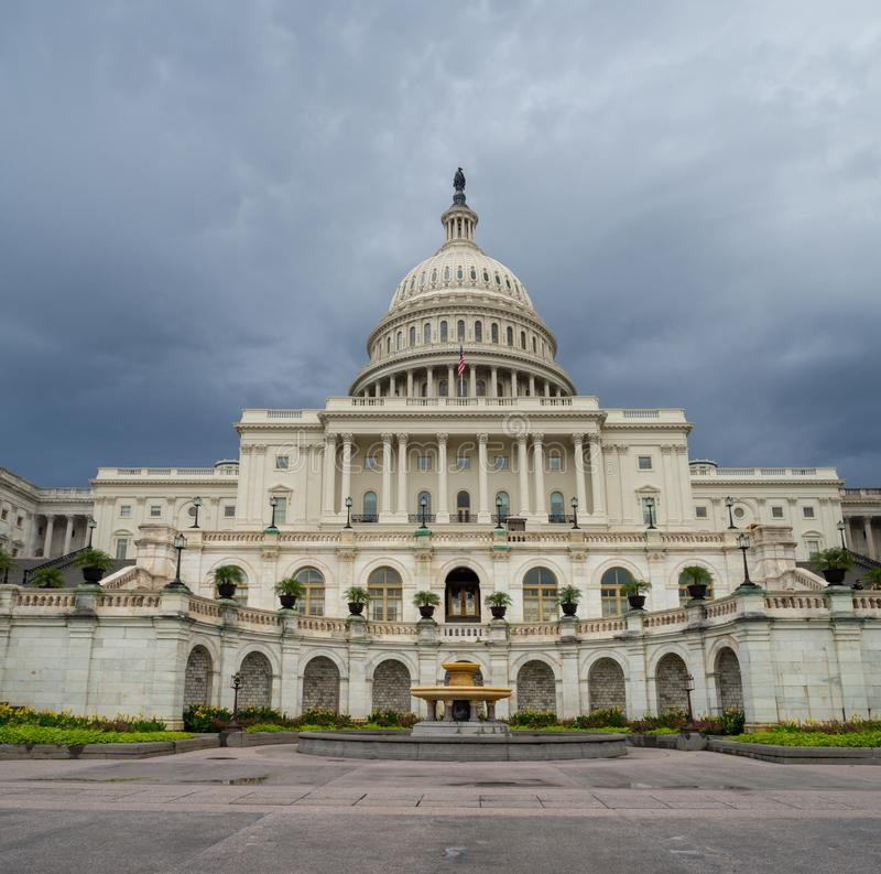 Washington DC, District of Columbia [United States US Capitol Building, shady cloudy weather before raining, faling dusk stock image