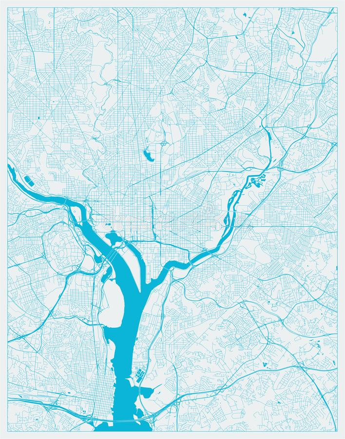 Washington DC, District de Stadskaart van van Colombia, de V.S. in Blauwe kleuren stock illustratie