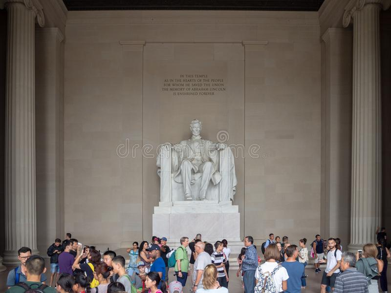 Washington DC, distrito de Columbia [Estados Unidos los E.E.U.U., Lincoln Memorial sobre piscina de la reflexión, interior y exte fotografía de archivo libre de regalías