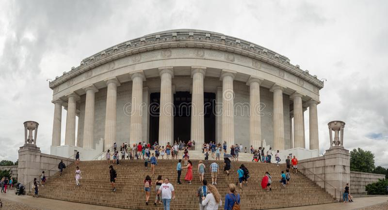 Washington DC, dystrykt kolumbii Stany Zjednoczone USA, Lincoln pomnik nad odbicie basenem, wnętrze i powierzchowność [, zdjęcie royalty free