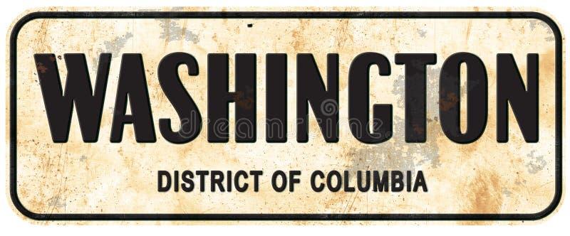 Washington DC dystryktu kolumbii znaka ulicznego rocznik royalty ilustracja
