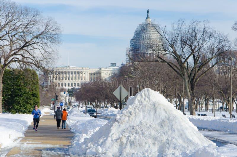 Washington DC efter snöstormen, Januari 2016 royaltyfria foton