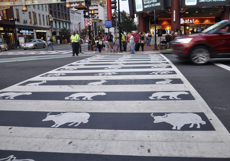 Washington DC, el 5 de agosto: Paso de la calle del zodiaco de Washington District de Columbia imagen de archivo libre de regalías