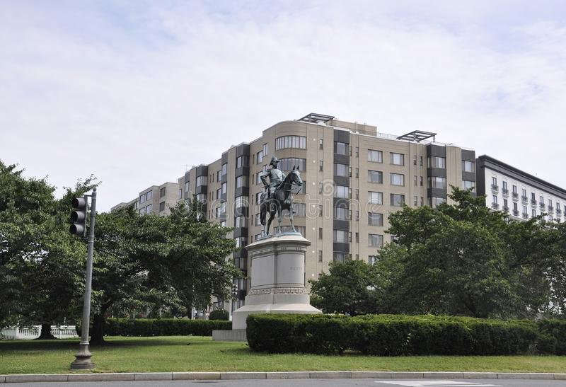 Washington DC, el 4 de julio de 2017: W general Scott Equestrian Statue del centro de la ciudad de Washington District de Columbi imagen de archivo