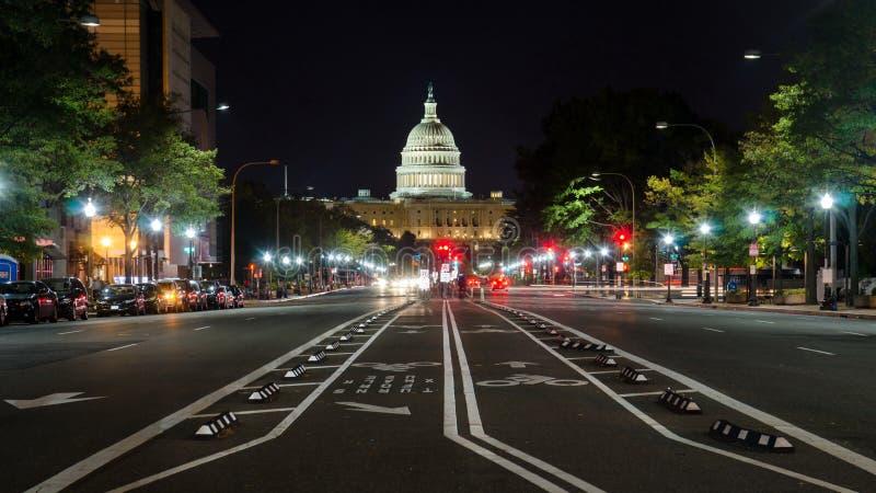 WASHINGTON DC, EUA - 24 DE OUTUBRO DE 2016: Opinião da rua do Capitólio dos E.U. fotos de stock royalty free