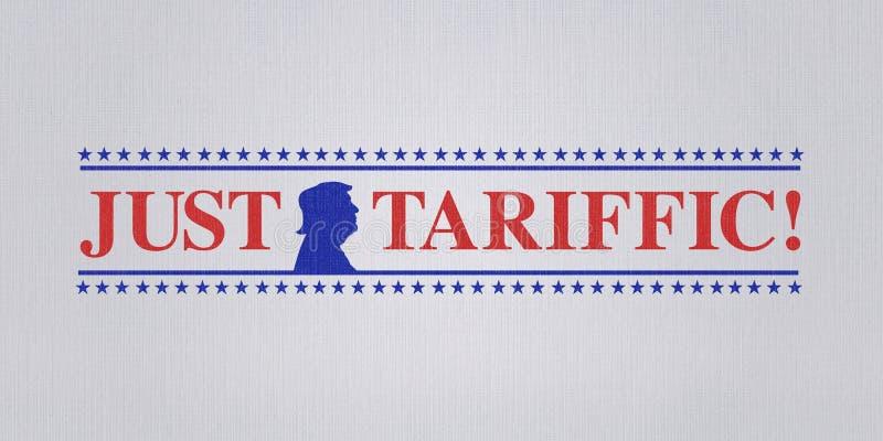 WASHINGTON DC, EUA, o 4 de julho de 2018 - ilustração para o presidente dos E.U. satisfeito com guerras comerciais e levantamento ilustração stock