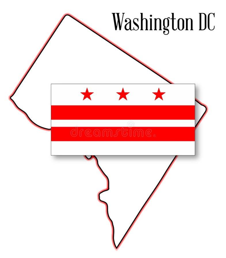 Washington DC flaga i mapa royalty ilustracja