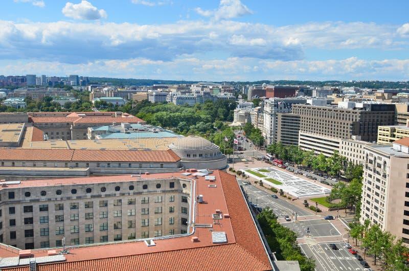 Washington DC flyg- sikt över den Pennsylvania avenyn royaltyfri bild