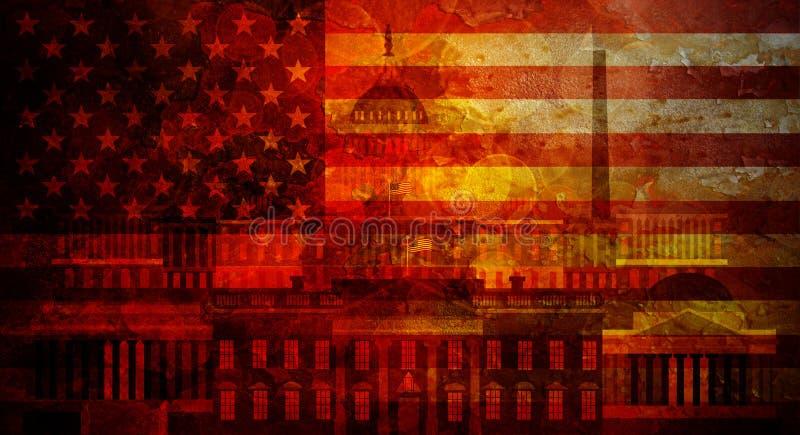 Washington DC Grunge tekstury USA flaga ilustracja ilustracji