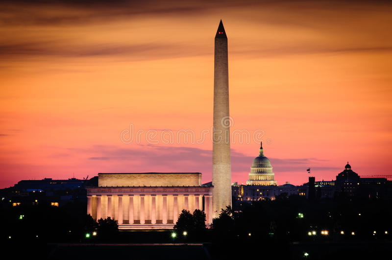 Washington DC-horisont arkivbilder