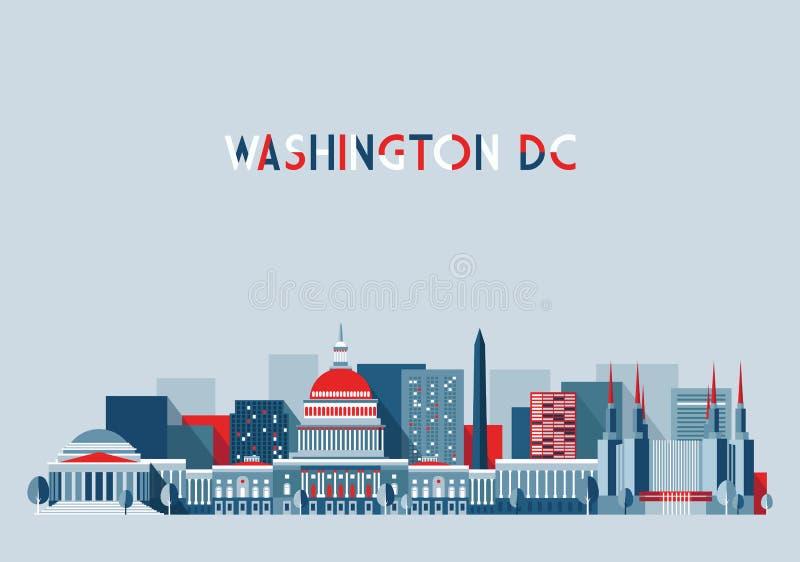 Washington DC Ilustracyjnej linii horyzontu Płaski projekt royalty ilustracja