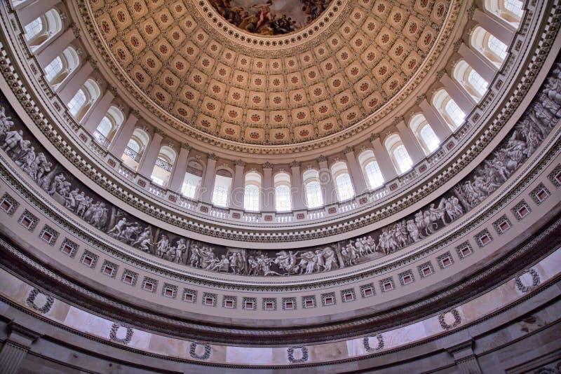 Washington DC intérieur rotunda de dôme de capitol des USA image stock