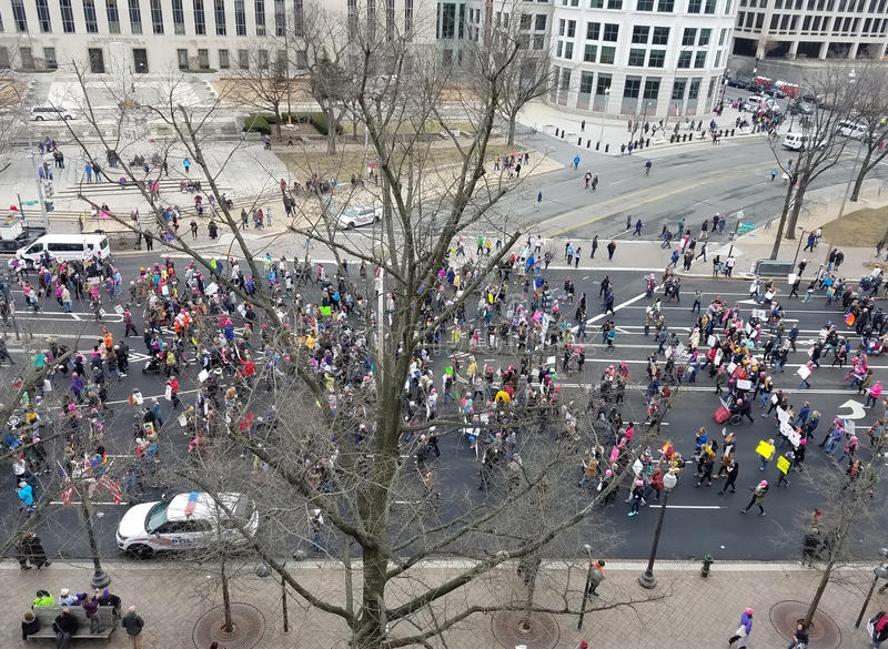 WASHINGTON DC - JAN 21, 2017: Women`s March on Washington stock photos