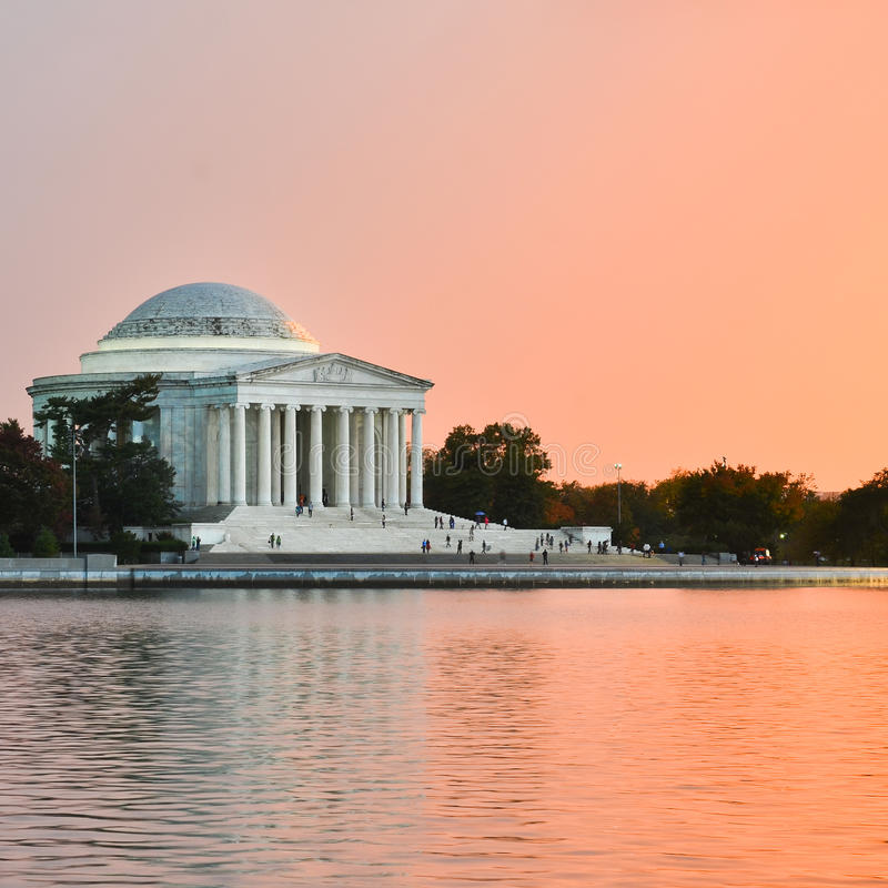 Washington DC - Jefferson Memorial no por do sol fotografia de stock royalty free