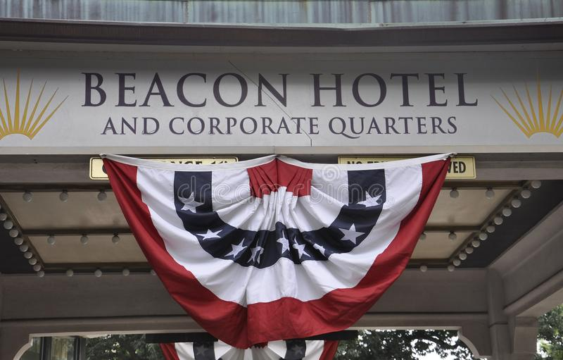 Washington DC, July 4th 2017: Beacon Hotel Signboard from Washington District of Columbia USA stock photos