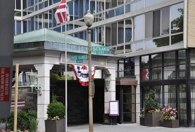 Washington DC, July 4th 2017: Luxury Hotel entrance from Downtown of Washington District of Columbia USA royalty free stock photo