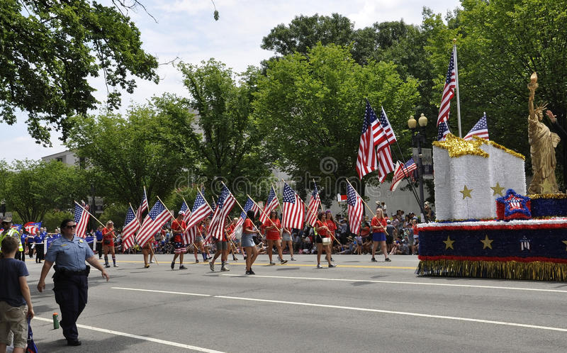 Washington DC, July 4th 2017: The Parade for the 4th July Parade from Washington District of Columbia USA stock images