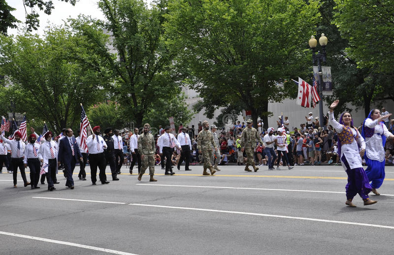 Washington DC, July 4th 2017: The Parade for the 4th July Parade from Washington District of Columbia USA stock image