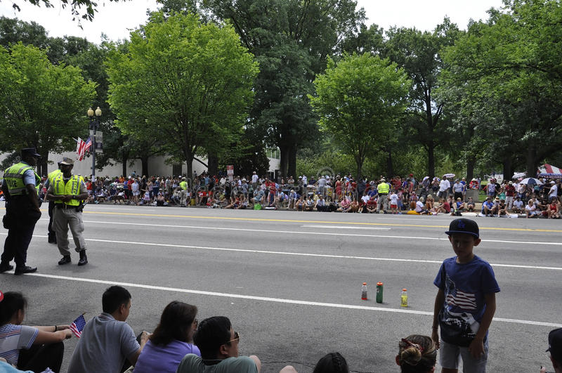 Washington DC, July 4th 2017: People waiting for the 4th July Parade from Washington District of Columbia USA royalty free stock photo