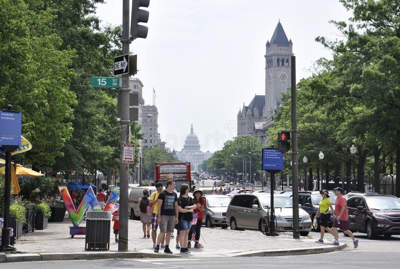 Washington DC, July 4th 2017: Street View downtown Washington District of Columbia USA stock images