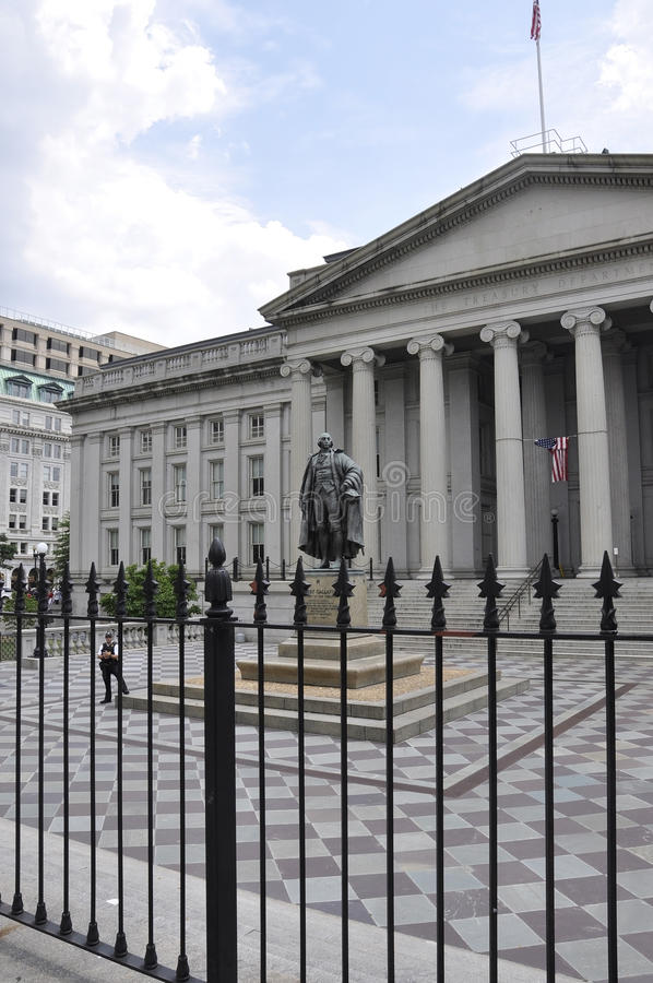 Washington DC, july 4th 2017: Treasury Department Building from Washington Columbia District in USA royalty free stock image