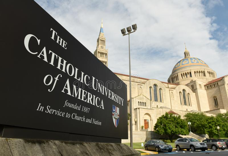 Washington, DC - June 01, 2018: Basilica of the National Shrine. Of the Immaculate Conception in Catholic University of America royalty free stock photo