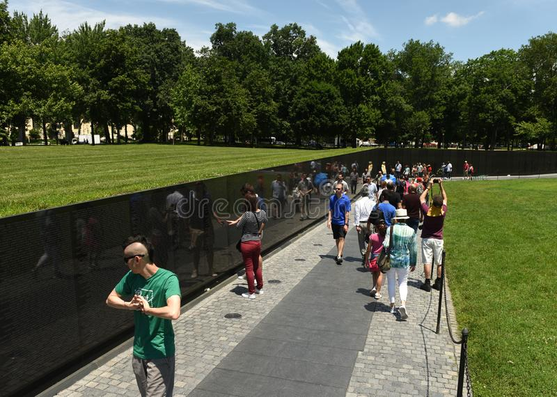 Washington, DC - June 01, 2018: Visitors on the Vietnam War memo royalty free stock images