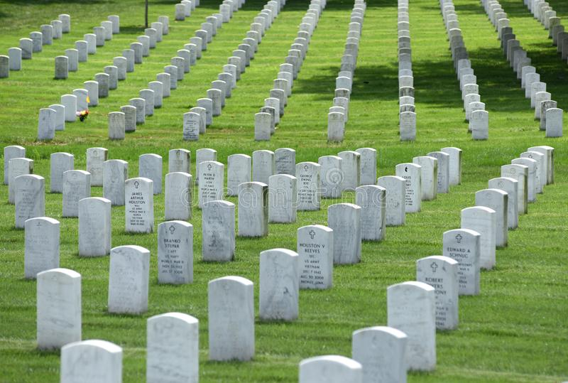 Washington DC - Juni 01, 2018: Arlington nationell kyrkogård royaltyfria foton