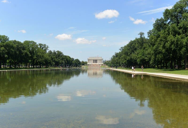 Washington DC - Juni 01, 2018: Den Lincoln minnesmärken och pölen var in arkivbilder