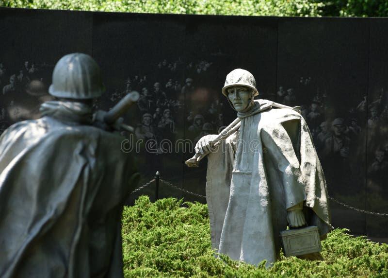 Washington DC - Juni 01, 2018: Minnesmärke för koreanskt krig på Natioen royaltyfri foto
