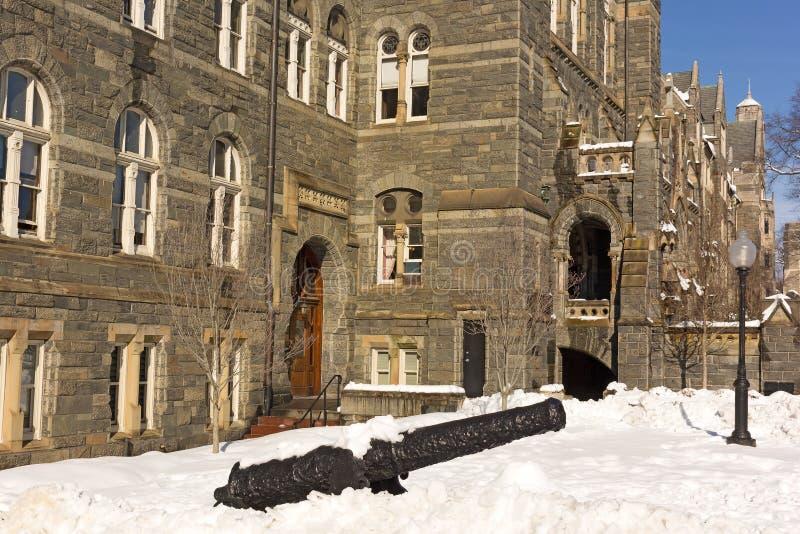 Washington DC krajobraz w zimie przy uniwersytet georgetown kampusem obraz stock