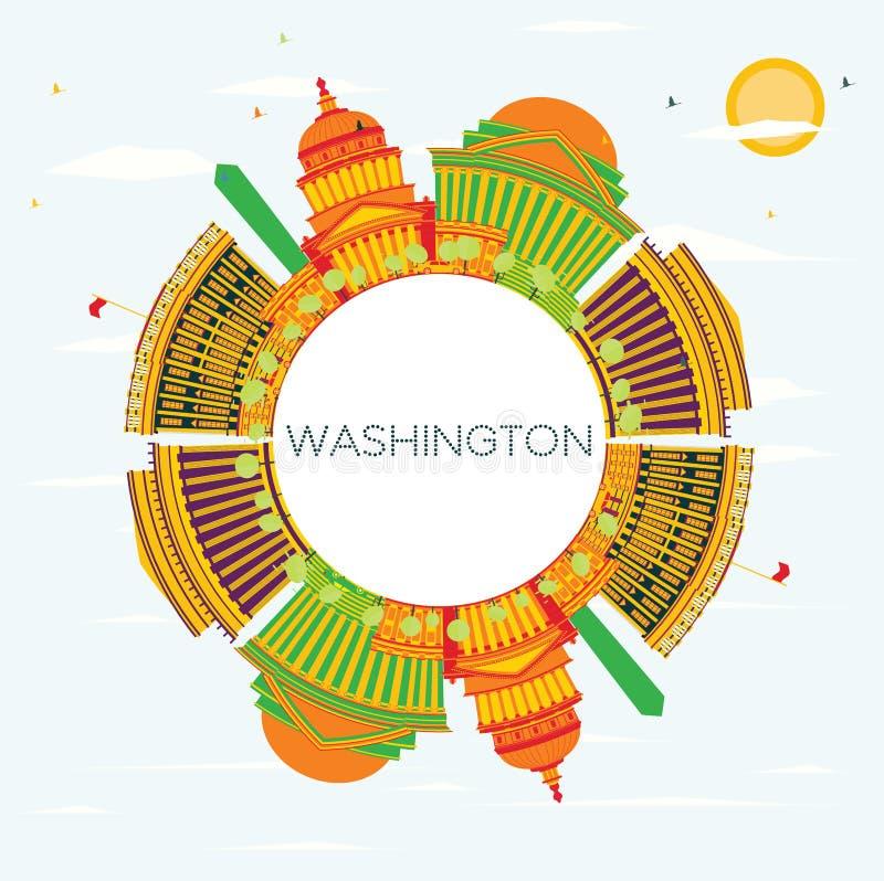Washington DC linia horyzontu z kolorów budynkami, niebieskim niebem i kopii Sp, ilustracja wektor