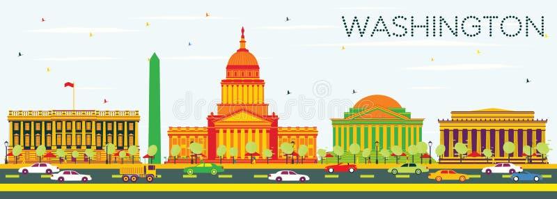 Washington DC linia horyzontu z koloru niebieskim niebem i budynkami royalty ilustracja