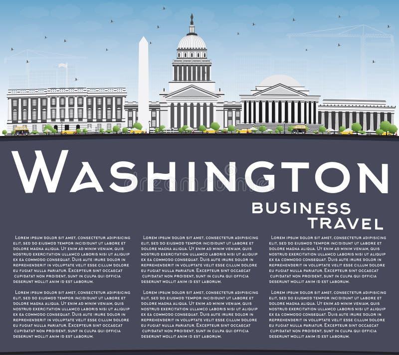 Washington DC linia horyzontu z Szarymi budynkami i kopii przestrzenią ilustracji