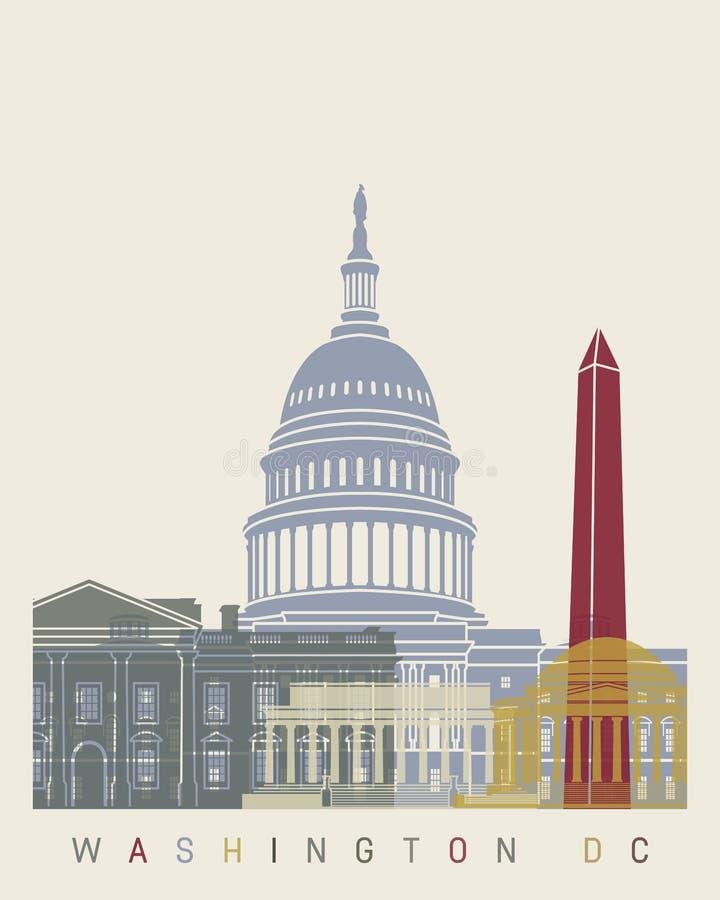 Washington DC linii horyzontu plakat ilustracji