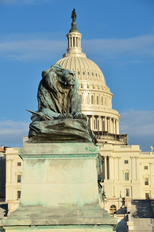 Washington DC - Lion statue in front of Capitol