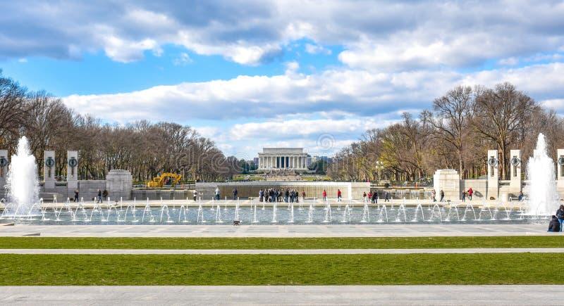 Washington DC, los E Vista panorámica del monumento de la Segunda Guerra Mundial fotografía de archivo