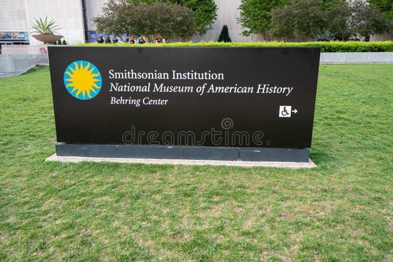 Washington DC - 9 mai 2019 : Signe pour le Mus?e National de Smithsonian Institution du centre am?ricain de Behring d'histoire un photo stock
