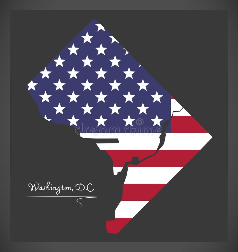 Washington DC map with American national flag illustration. Washington DC map with American national flag royalty free illustration