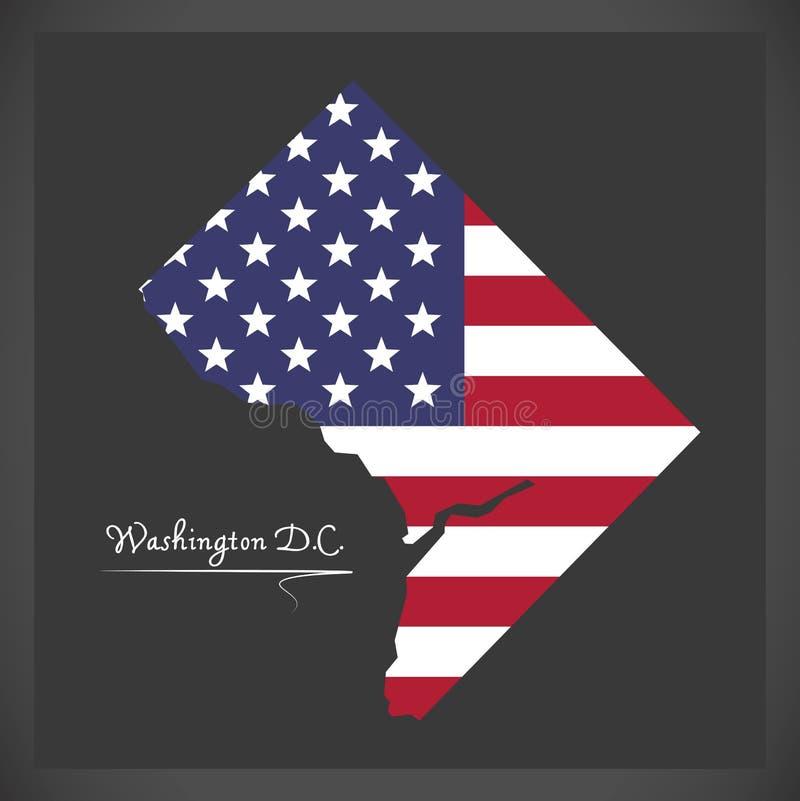 Washington DC mapa z Amerykańską flaga państowowa ilustracją ilustracja wektor