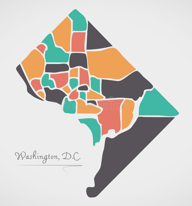 Washington DC mapa z sąsiedztwami i nowożytnymi round kształtami royalty ilustracja