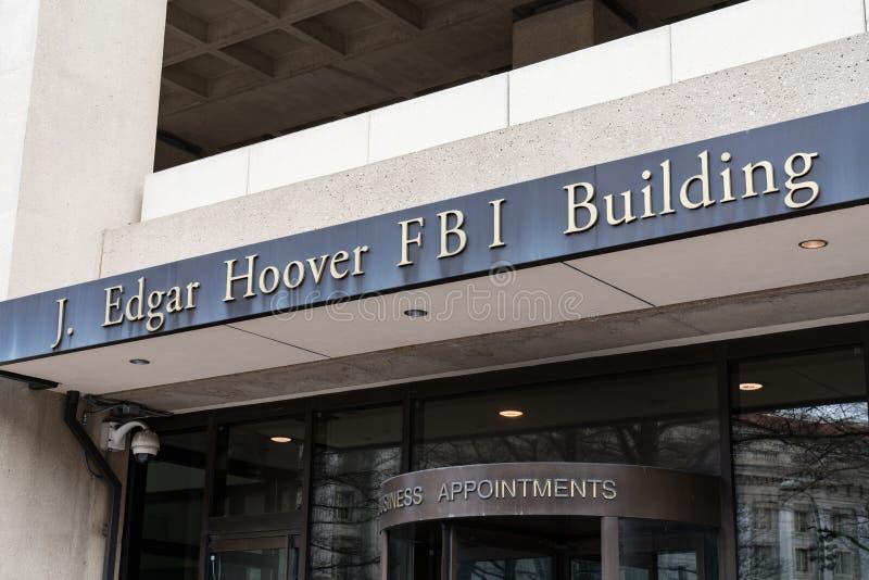 Entrance to FBI Building in Washington DC. WASHINGTON, DC - MARCH 14, 2018: Front facade of the J. Edgar Hoover FBI Building in Washington DC royalty free stock photos