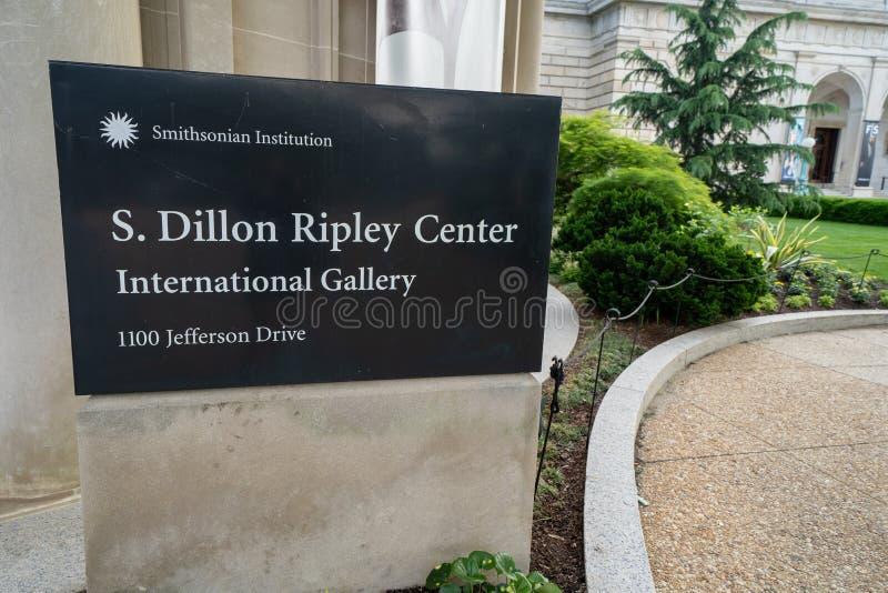 Washington DC - 9 Mei, 2019: Teken voor S Dillon Ripley Center International Gallery van Kunst, als deel van Smithsonian royalty-vrije stock fotografie